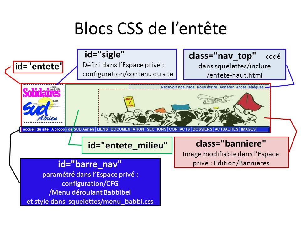 Blocs CSS de l'entête id= sigle