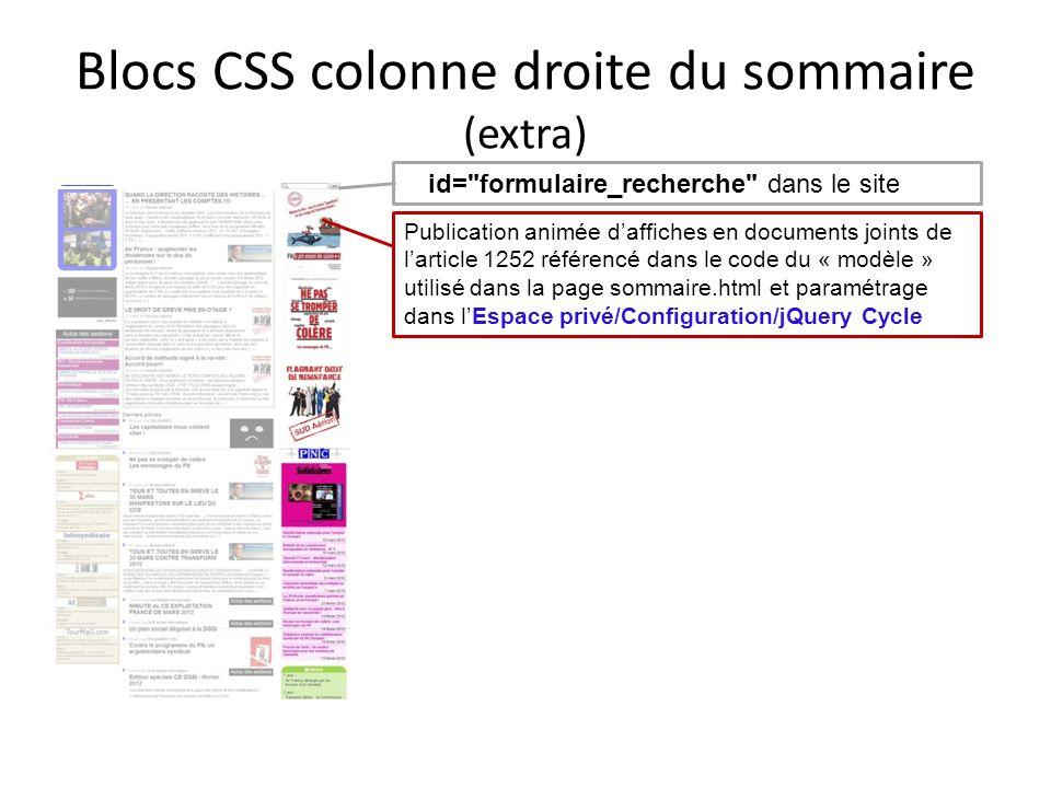 Blocs CSS colonne droite du sommaire (extra)