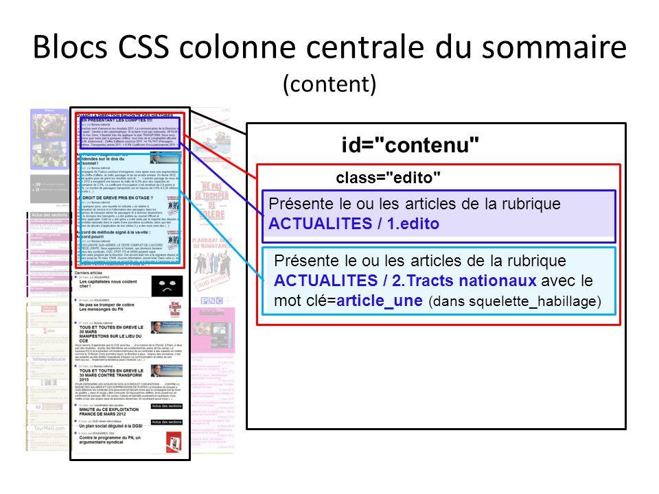 Blocs CSS colonne centrale du sommaire (content)