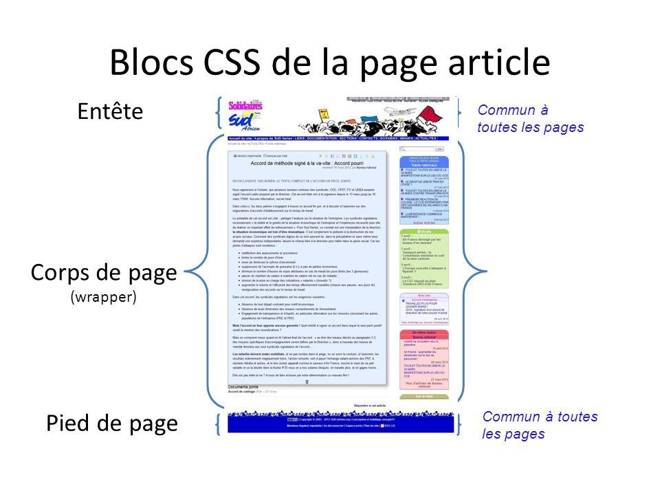 Blocs CSS de la page article