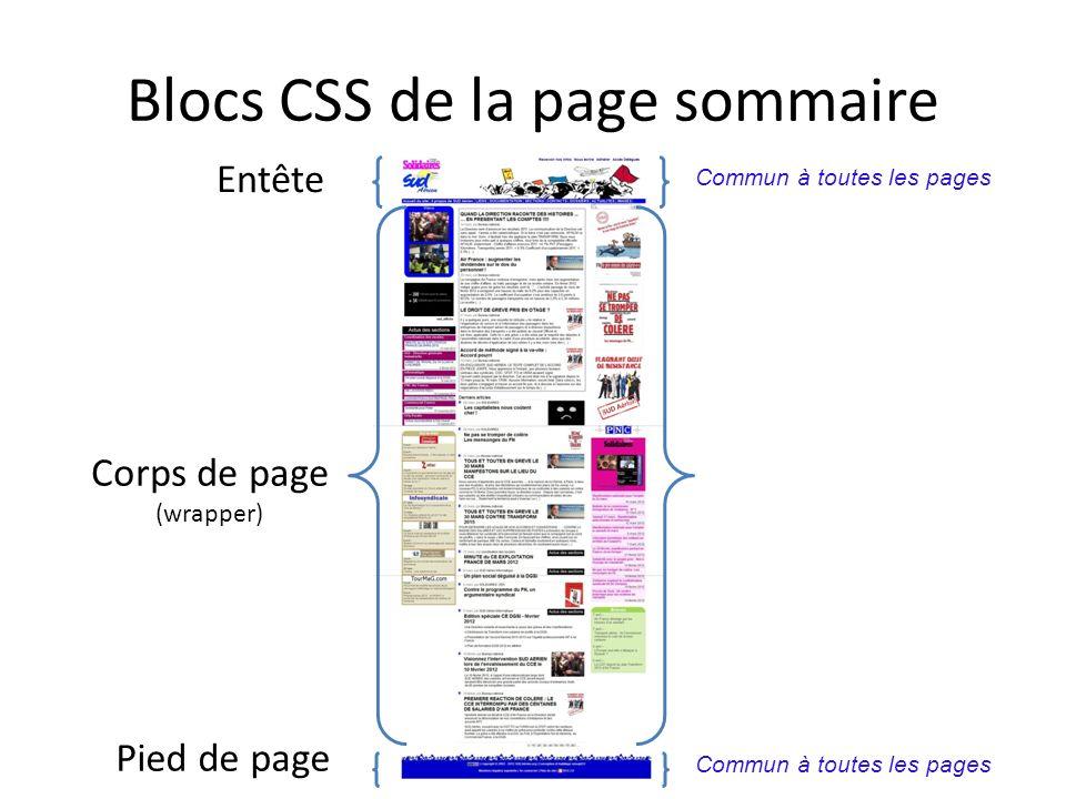 Blocs CSS de la page sommaire
