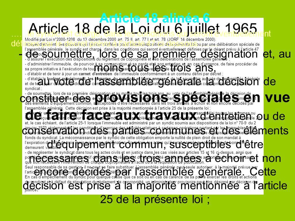 Article 18 de la Loi du 6 juillet 1965