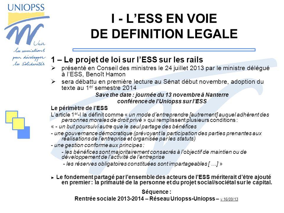 I - L'ESS EN VOIE DE DEFINITION LEGALE