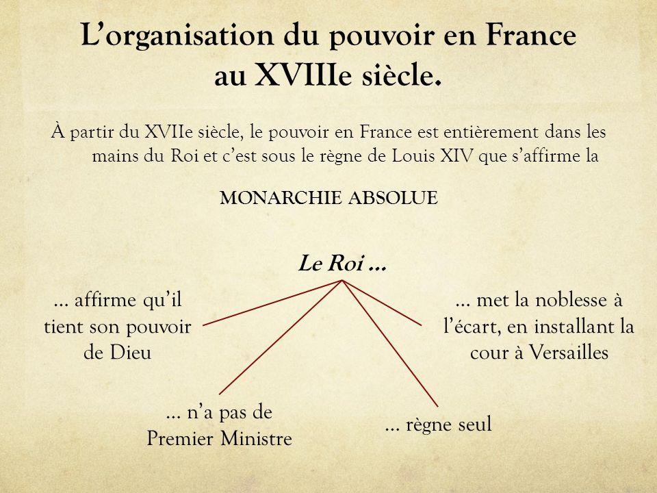 L'organisation du pouvoir en France au XVIIIe siècle.