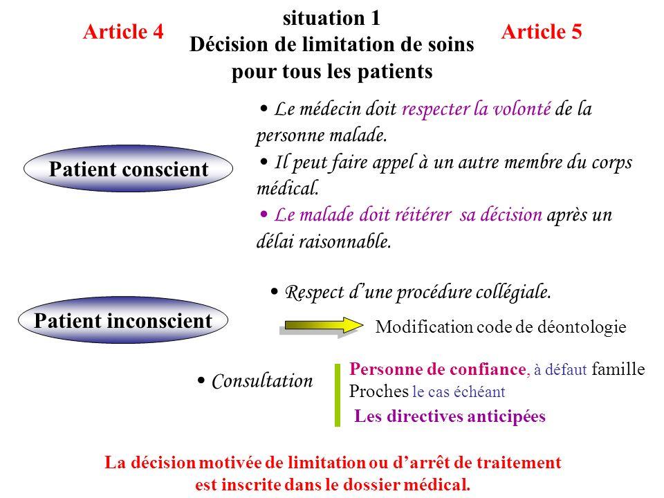 Décision de limitation de soins pour tous les patients Article 4