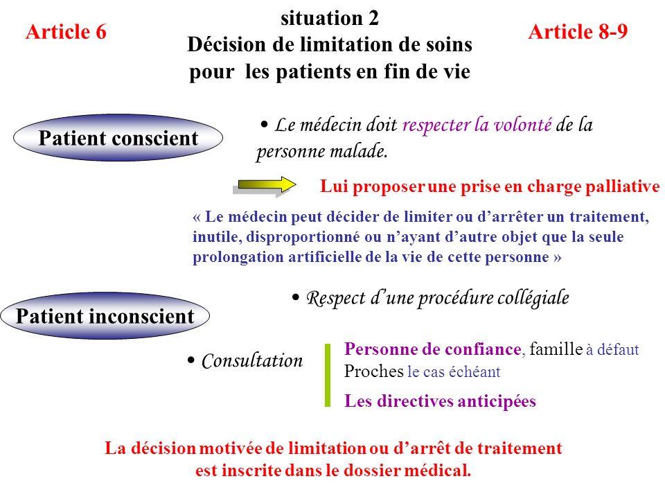 Décision de limitation de soins pour les patients en fin de vie