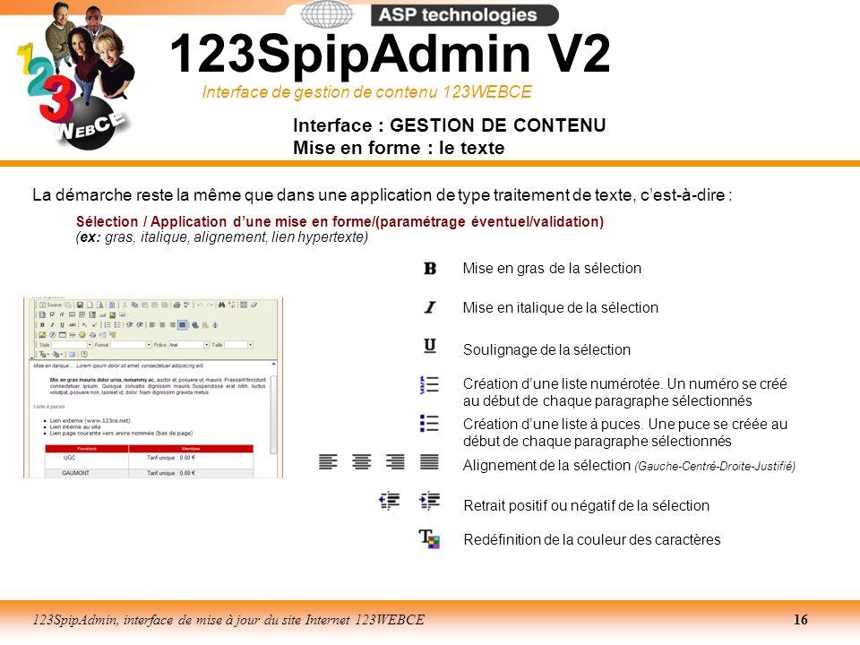 Interface : GESTION DE CONTENU Mise en forme : le texte