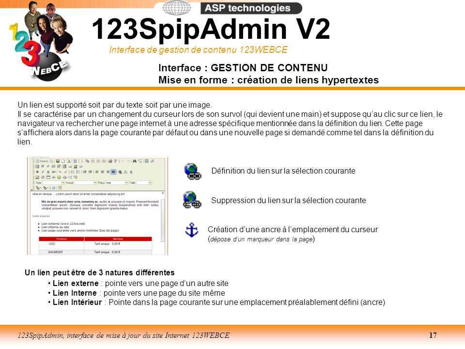 123SpipAdmin V2 Interface : GESTION DE CONTENU