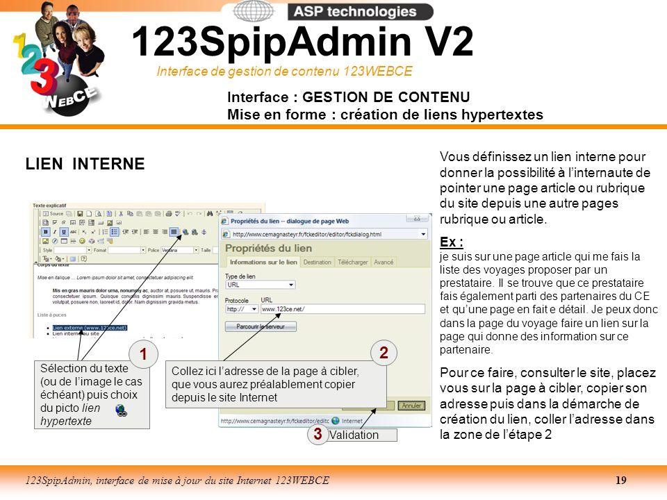 123SpipAdmin V2 LIEN INTERNE 1 2 3 Interface : GESTION DE CONTENU