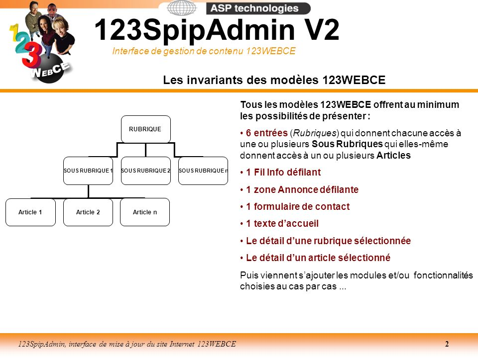 Les invariants des modèles 123WEBCE
