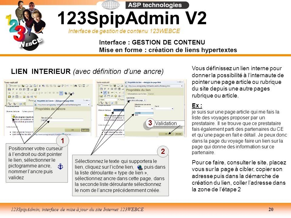 123SpipAdmin V2 LIEN INTERIEUR (avec définition d'une ancre) 3 1 2