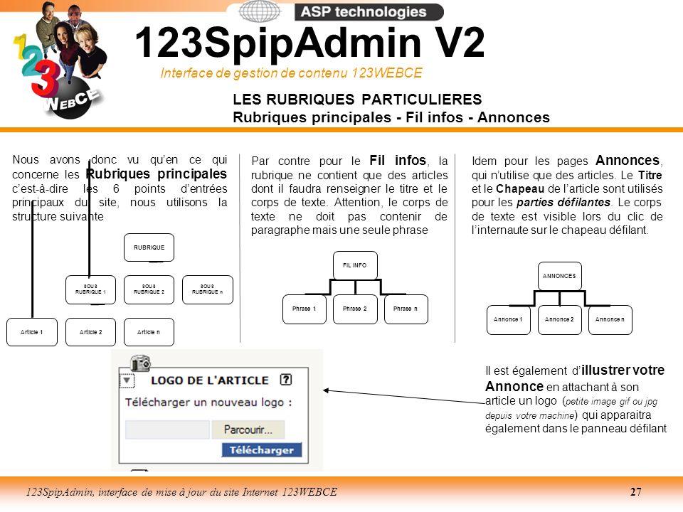 123SpipAdmin V2 LES RUBRIQUES PARTICULIERES