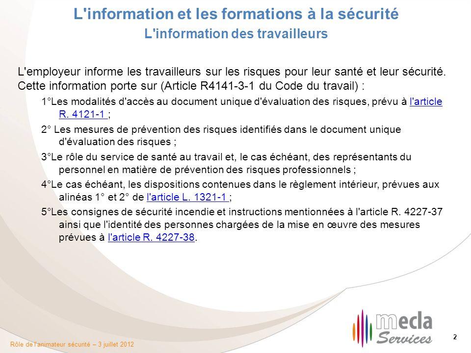 L'information et les formations à la sécurité - ppt ...