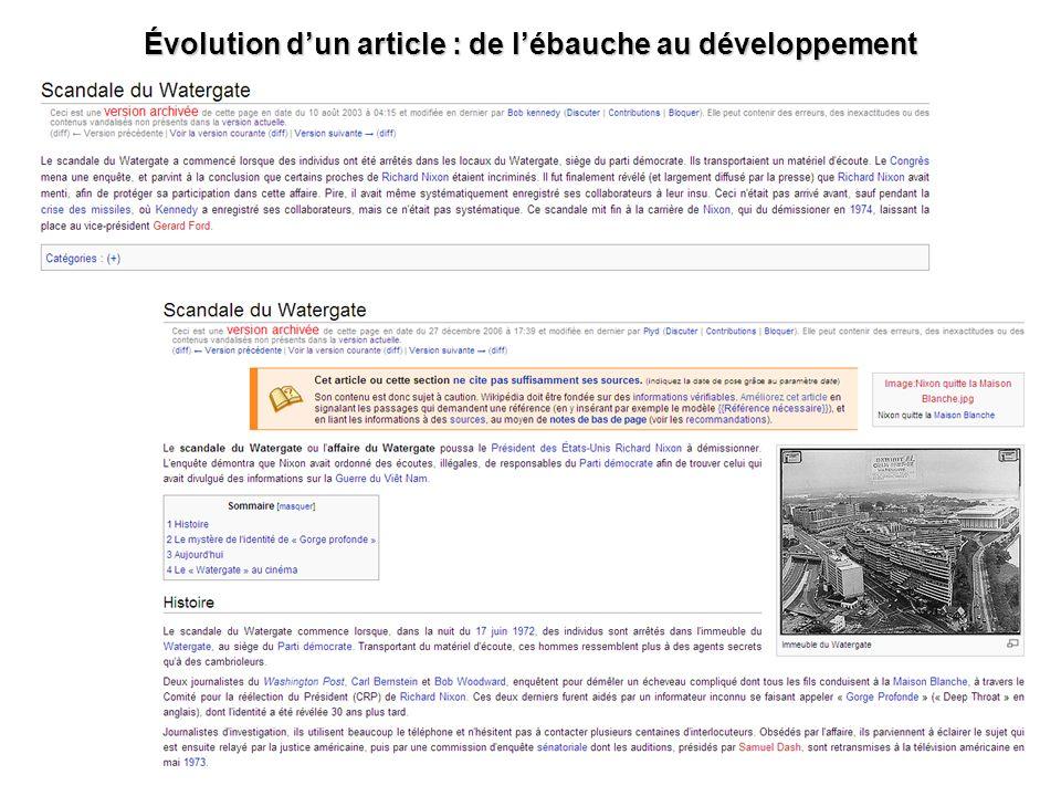 Évolution d'un article : de l'ébauche au développement