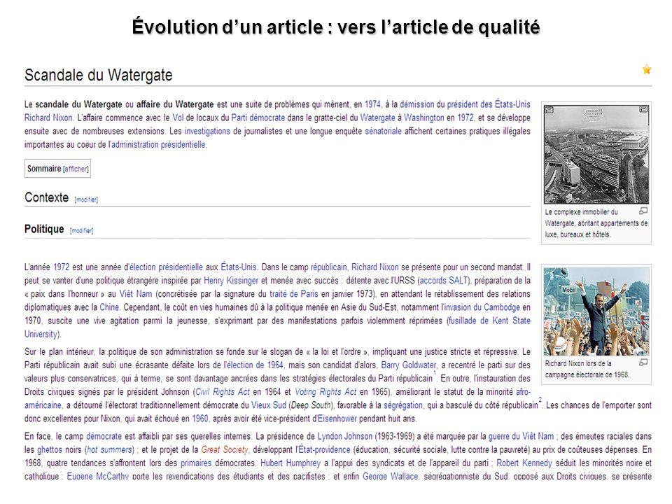 Évolution d'un article : vers l'article de qualité