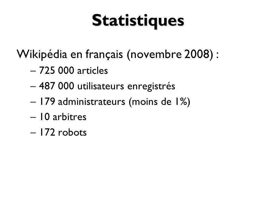 Statistiques Wikipédia en français (novembre 2008) : 725 000 articles