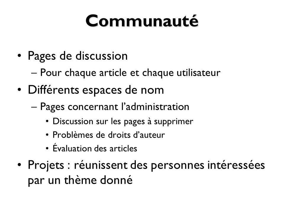 Communauté Pages de discussion Différents espaces de nom
