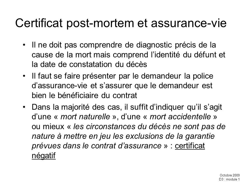 Certificat post-mortem et assurance-vie