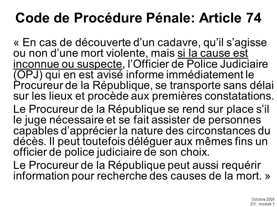 Code de Procédure Pénale: Article 74