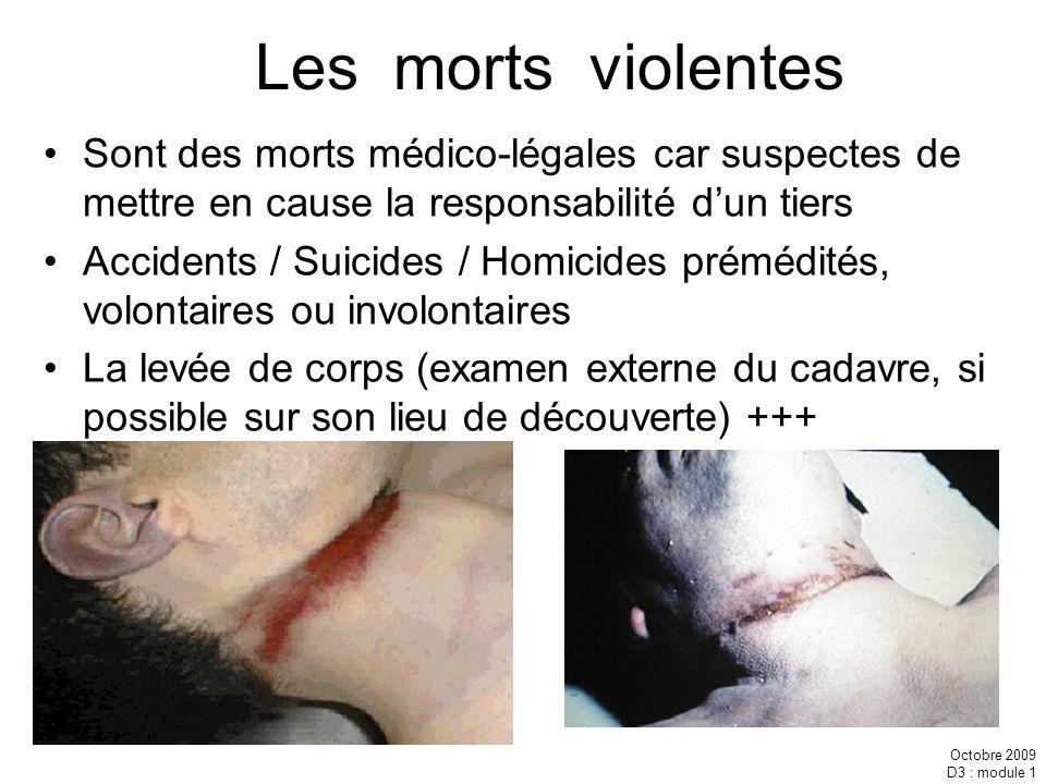 Les morts violentes Sont des morts médico-légales car suspectes de mettre en cause la responsabilité d'un tiers.