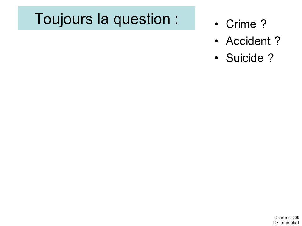 Toujours la question : Crime Accident Suicide Octobre 2009