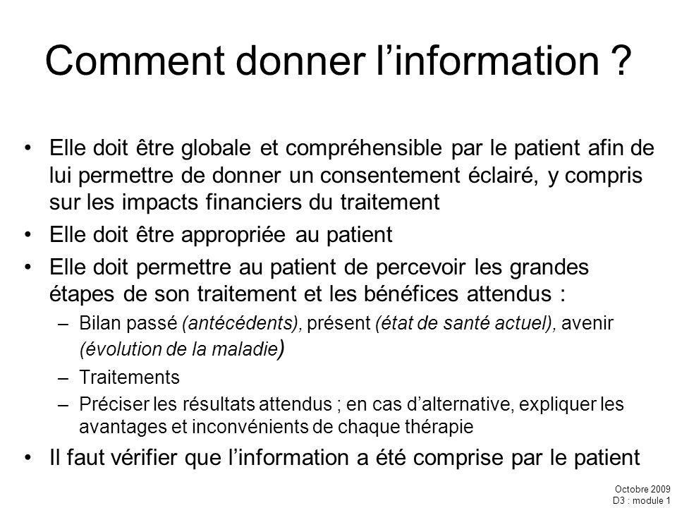Comment donner l'information