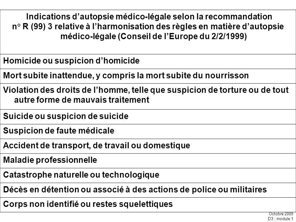 Indications d'autopsie médico-légale selon la recommandation