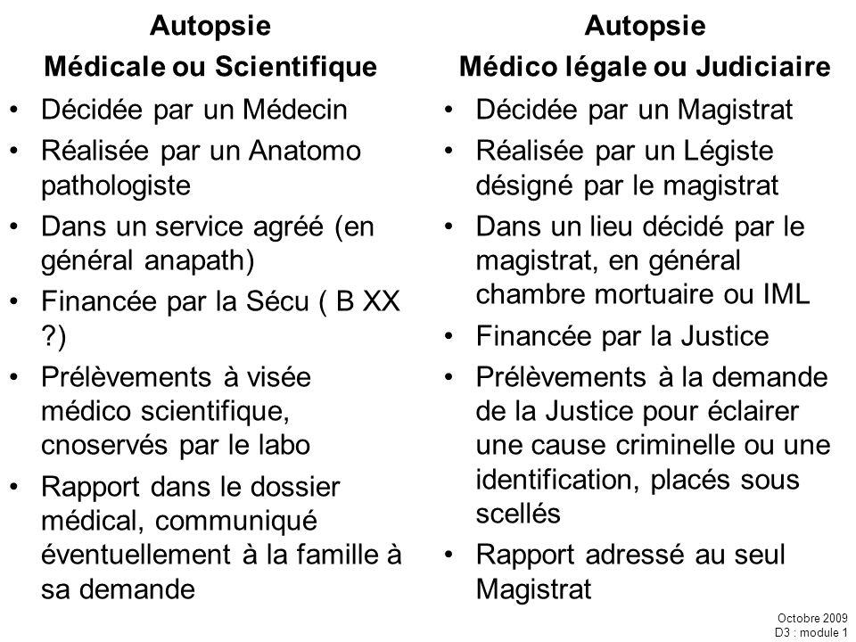 Médicale ou Scientifique Médico légale ou Judiciaire