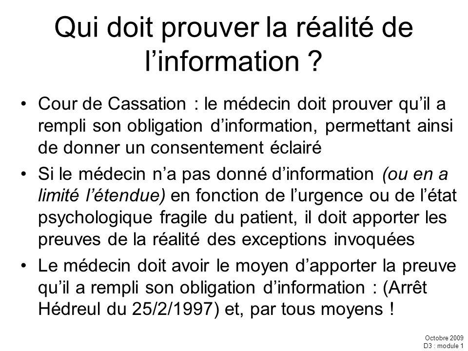 Qui doit prouver la réalité de l'information