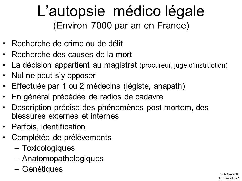 L'autopsie médico légale (Environ 7000 par an en France)