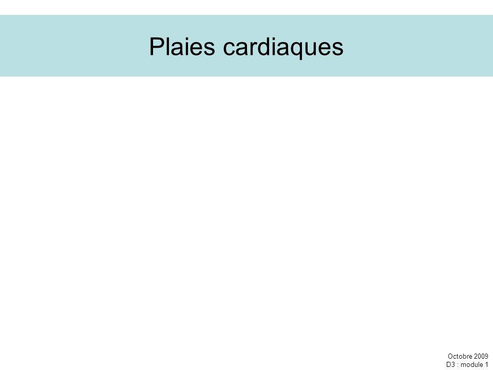 Plaies cardiaques Octobre 2009 D3 : module 1