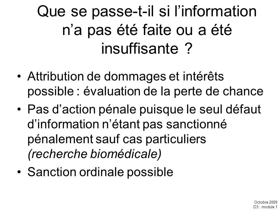 Que se passe-t-il si l'information n'a pas été faite ou a été insuffisante
