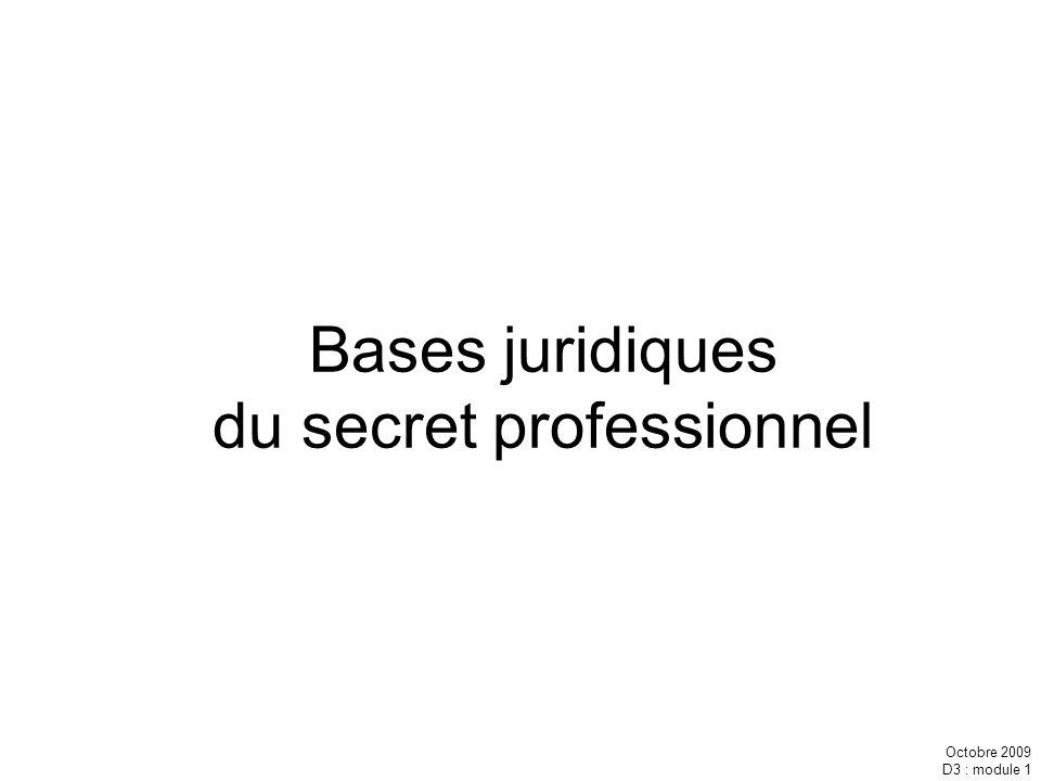 Bases juridiques du secret professionnel