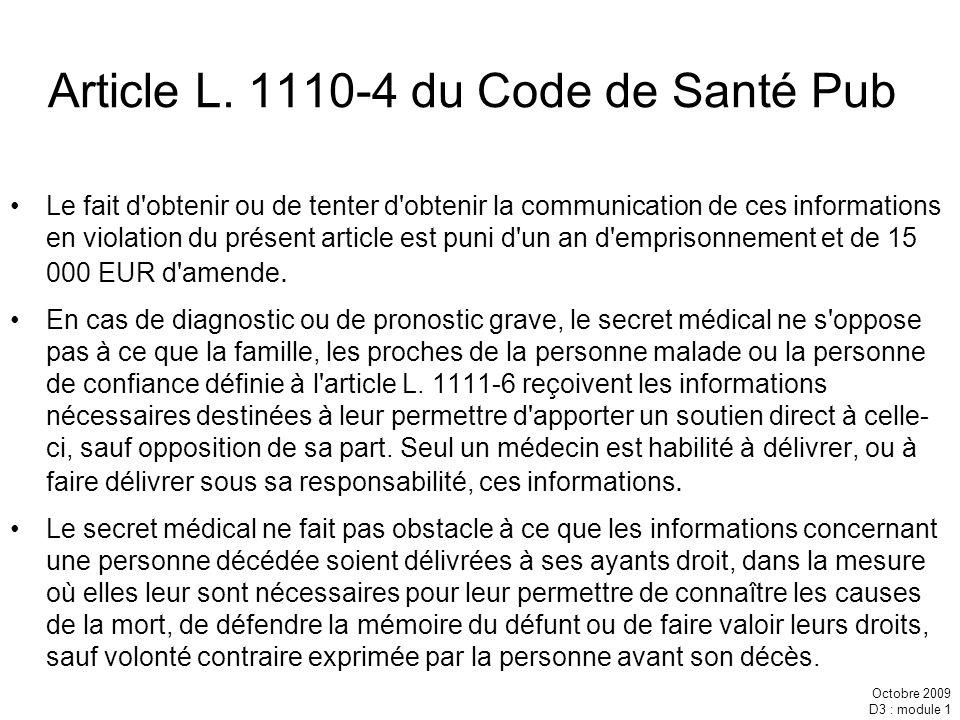 Article L. 1110-4 du Code de Santé Pub