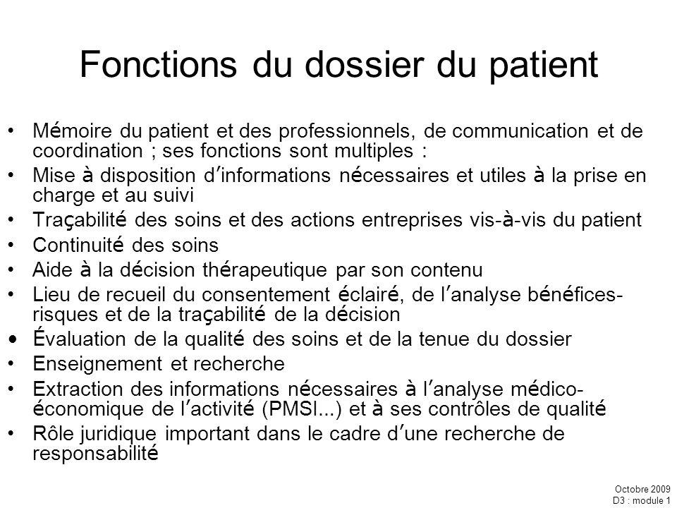 Fonctions du dossier du patient