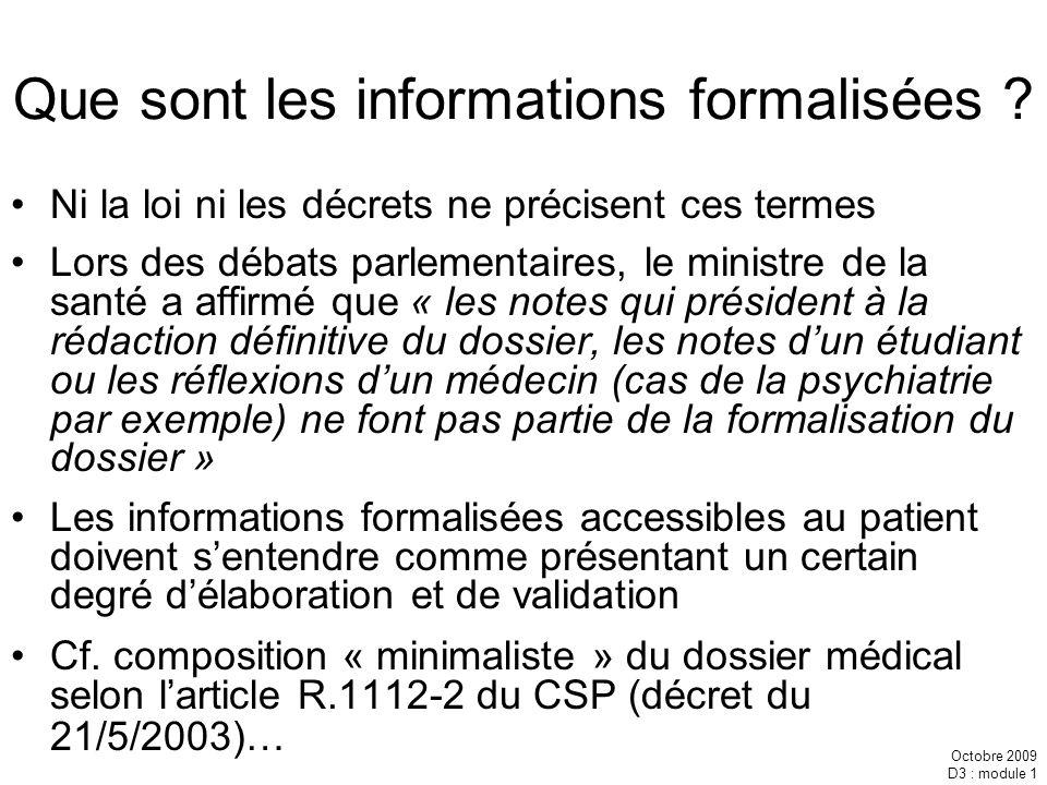 Que sont les informations formalisées