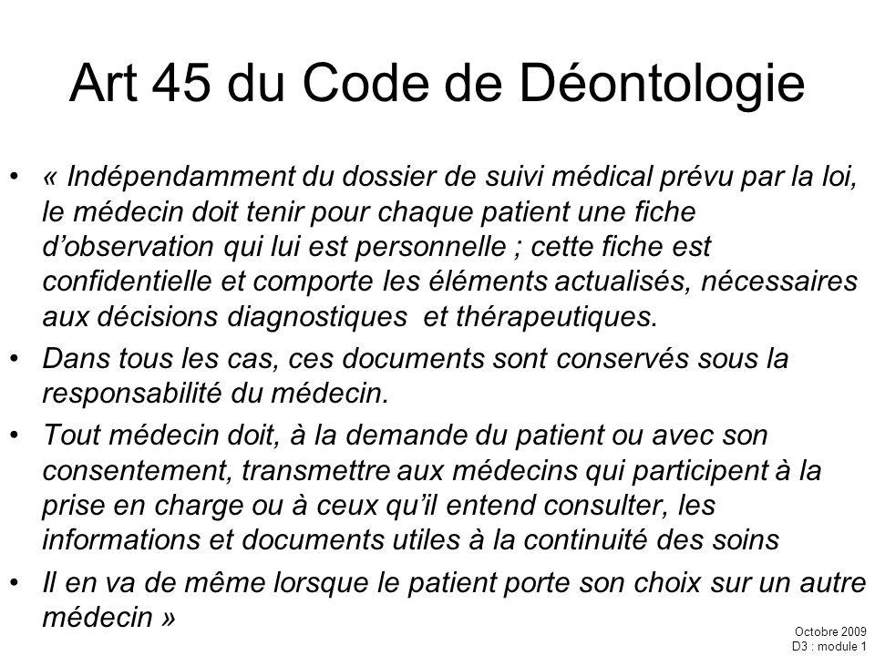 Art 45 du Code de Déontologie