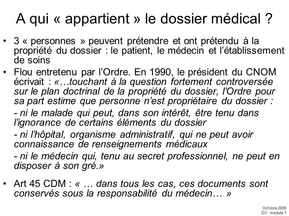 A qui « appartient » le dossier médical