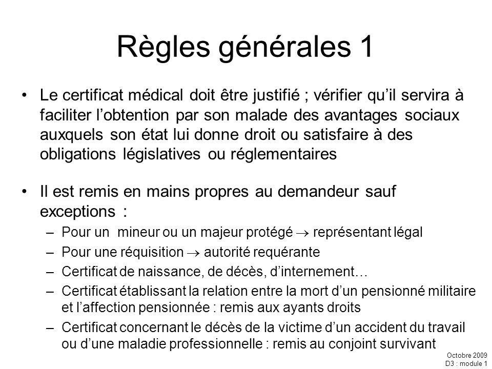 Règles générales 1