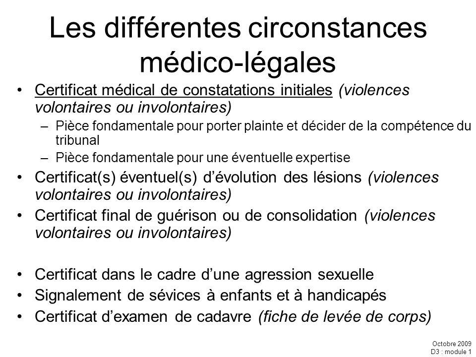 Les différentes circonstances médico-légales