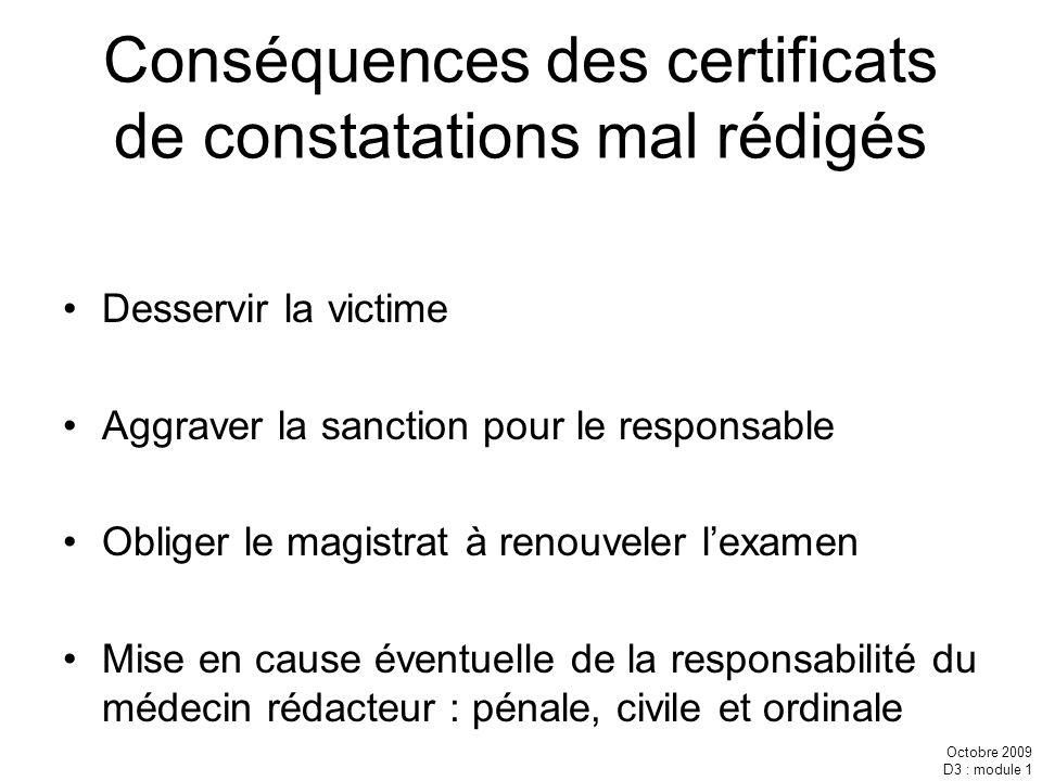 Conséquences des certificats de constatations mal rédigés