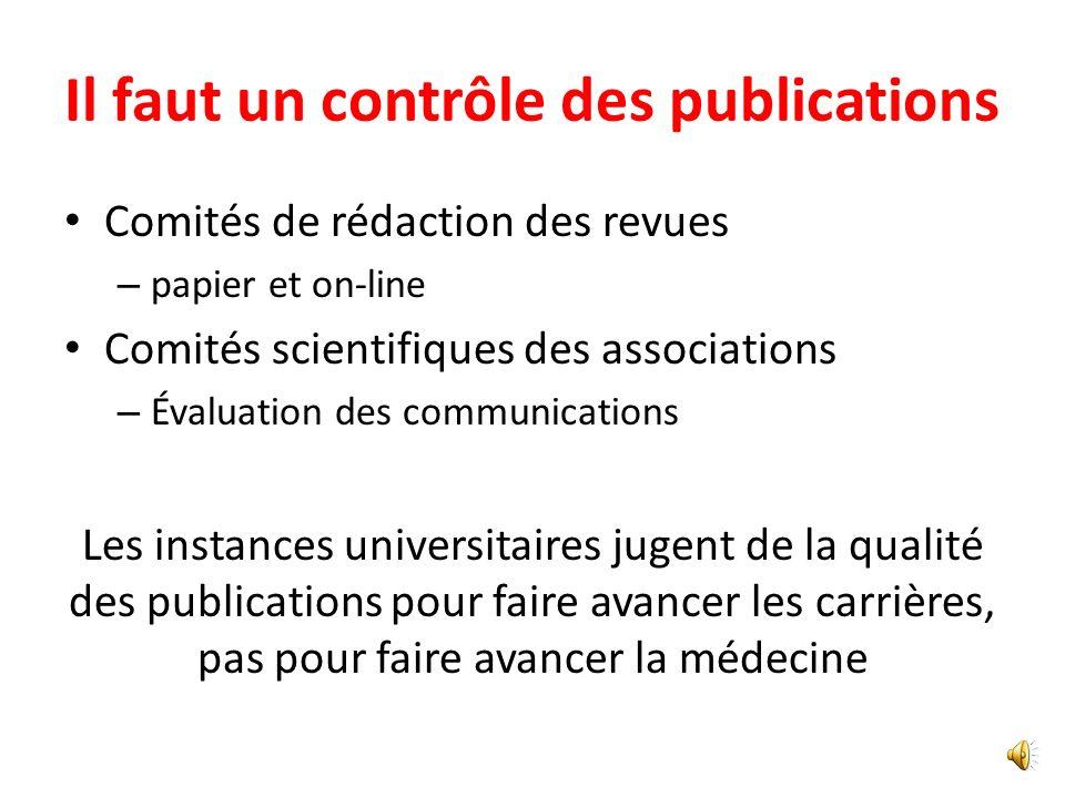 Il faut un contrôle des publications