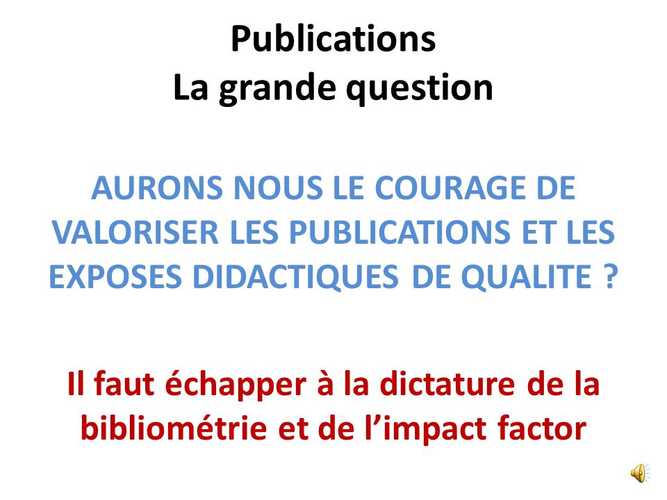 Publications La grande question