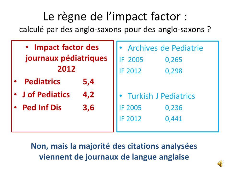 Impact factor des journaux pédiatriques 2012