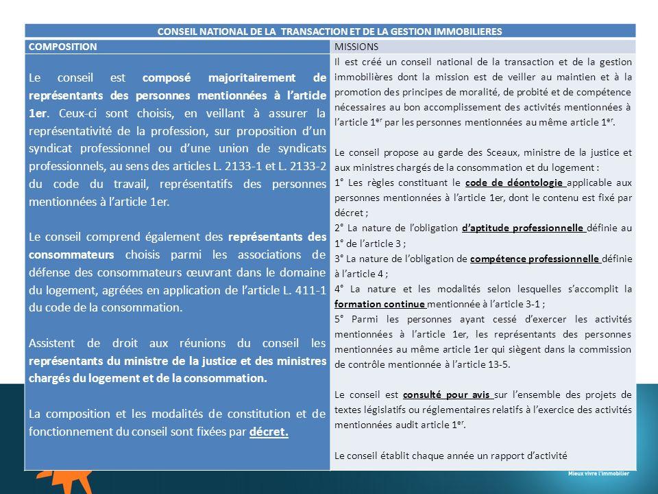 CONSEIL NATIONAL DE LA TRANSACTION ET DE LA GESTION IMMOBILIERES