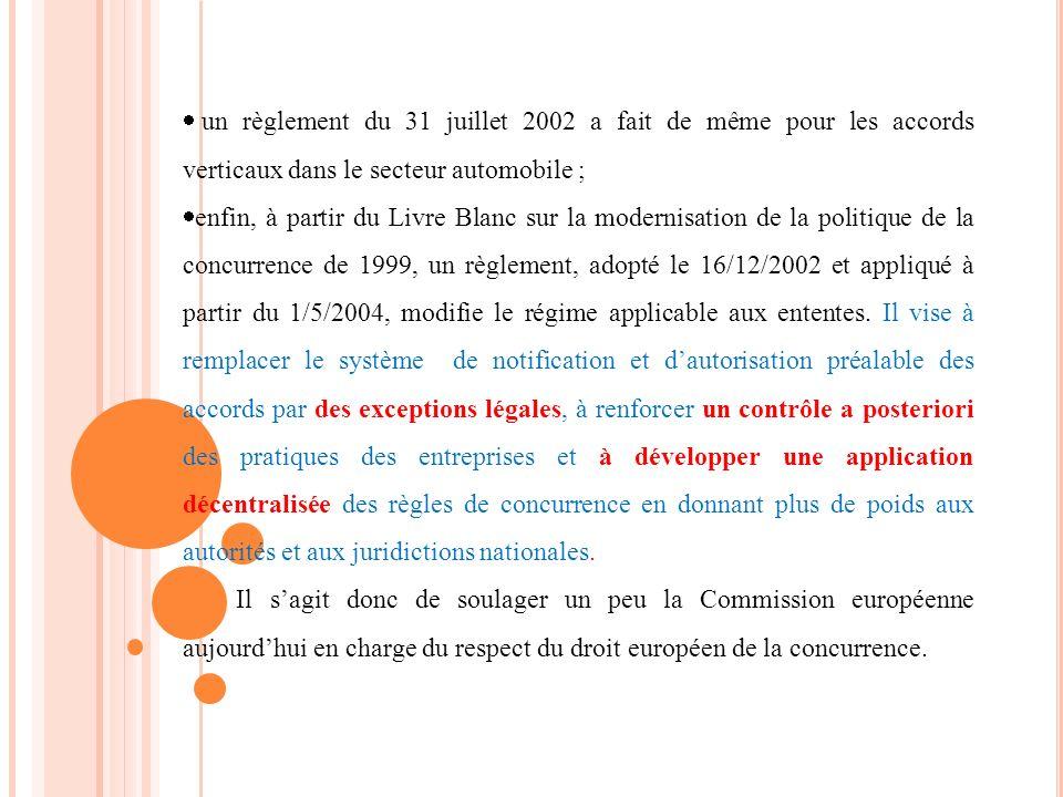 un règlement du 31 juillet 2002 a fait de même pour les accords verticaux dans le secteur automobile ;