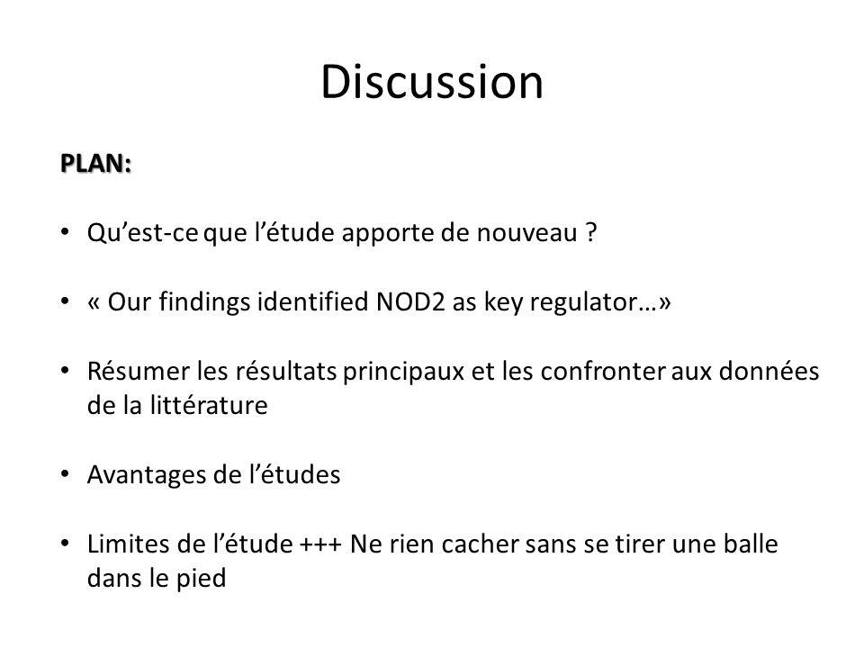 Discussion PLAN: Qu'est-ce que l'étude apporte de nouveau
