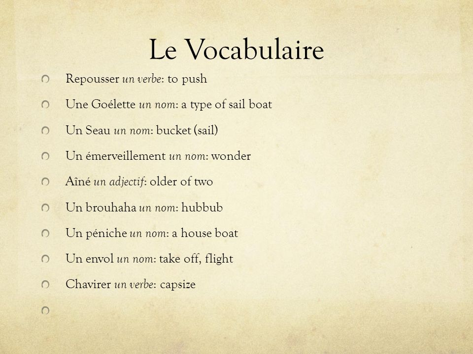 Le Vocabulaire Repousser un verbe: to push