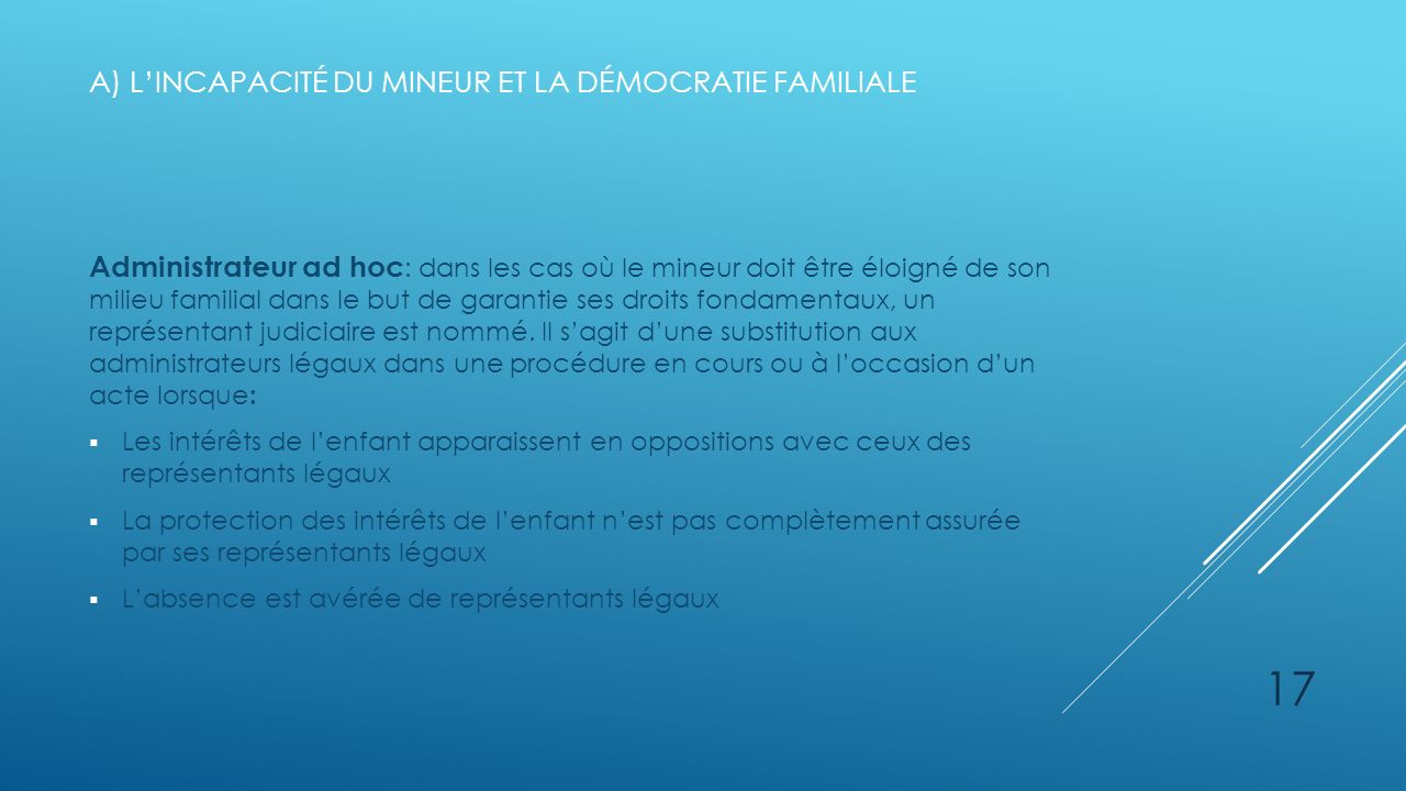 A) l'incapacité du mineur et la démocratie familiale