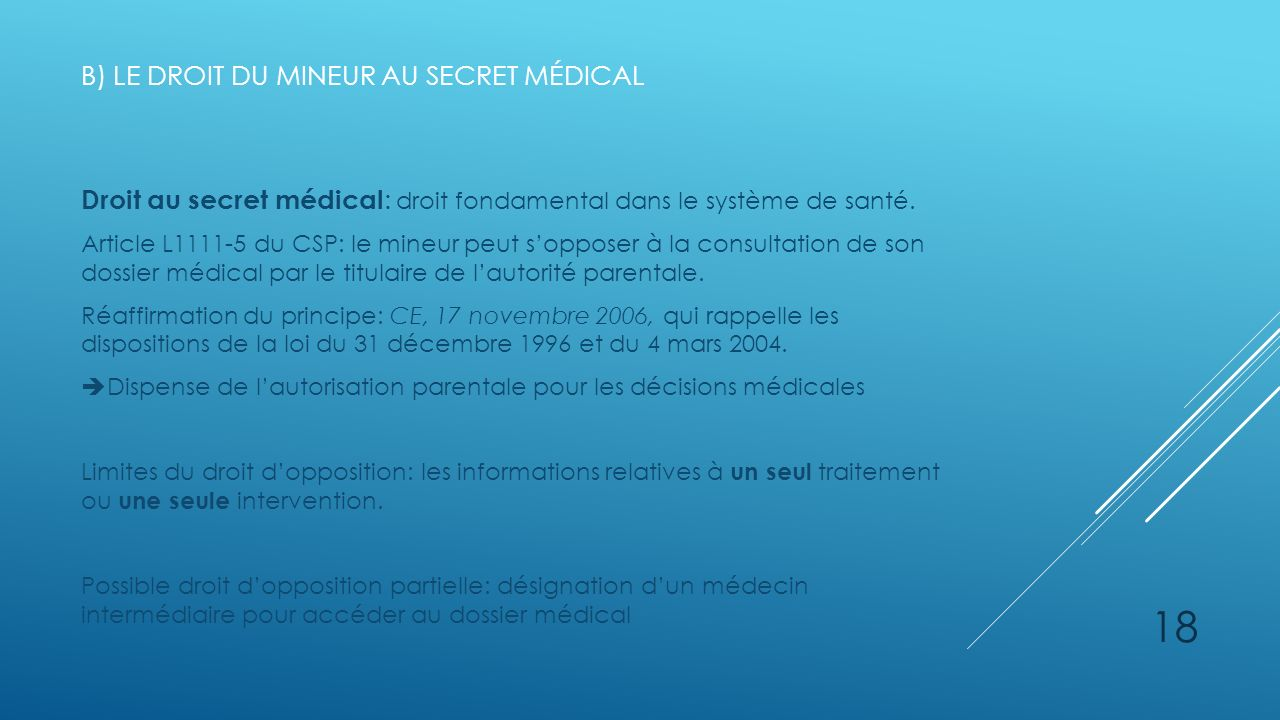 b) Le droit du mineur au secret médical